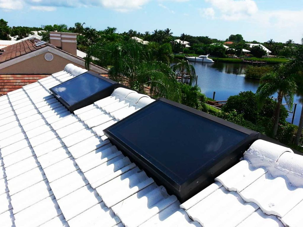 Ridge Mount Skylights installed on a tile roof