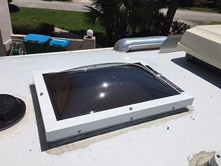 Skylight installed on a trailer