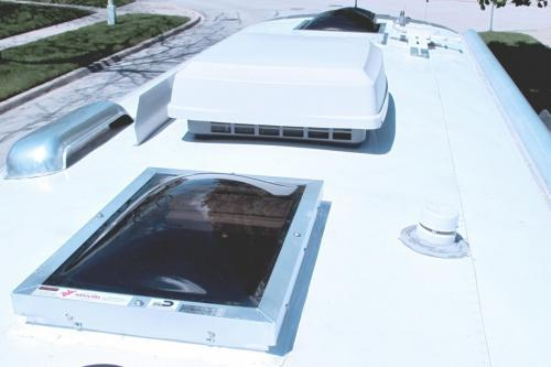 Clear skylight installed on a trailer